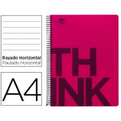 Bloc Din A4 Liderpapel serie Think rayado rojo