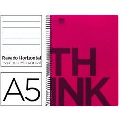 Bloc Din A5 Liderpapel serie Think rayado rojo