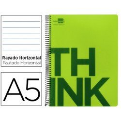 Bloc Din A5 Liderpapel serie Think rayado verde