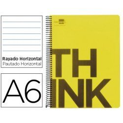 Bloc Din A6 Liderpapel serie Think rayado amarillo