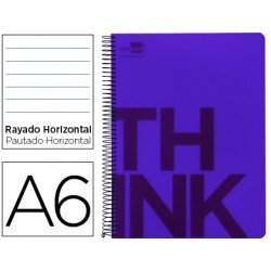 Bloc Din A6 Liderpapel serie Think rayado violeta