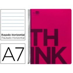 Bloc Din A7 Liderpapel serie Think rayado rojo