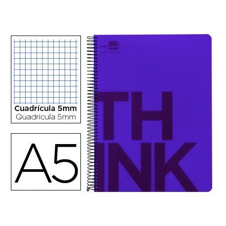 Bloc Din A5 Liderpapel serie Think cuadricula 5 mm violeta