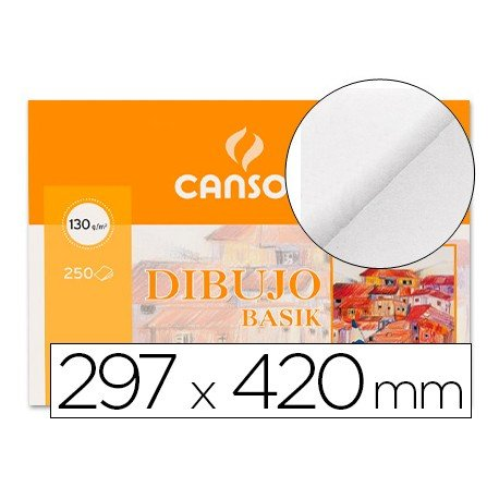 Papel dibujo Canson lamina lisa 297x420 mm 130 g/m2