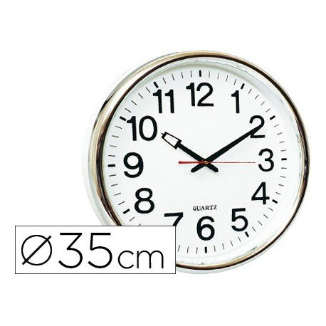 Reloj de pared plastico 38 cm marco plateado