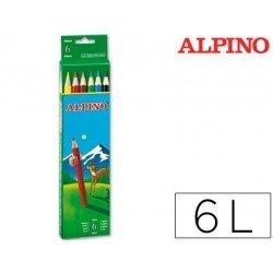 Lapices de Colores Alpino Hexagonales Caja 6 lapices largos