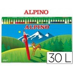 Lapices de Colores Alpino Hexagonales Caja de 30 lapices largos