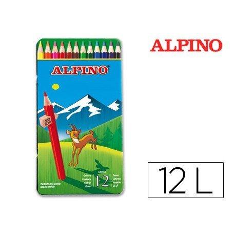 Lapices de Colores Alpino Hexagonales Caja de metal 12 unidades