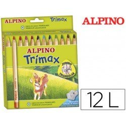 Lapices de Colores Alpino triangulares caja 12 unidades mina gruesa