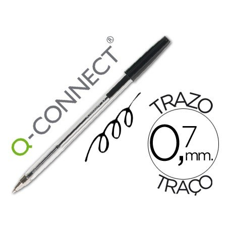 Boligrafo transparente Q-Connect Negro 0,7 mm