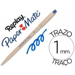 Boligrafo Borrable Paper mate Replay III con goma incorporada azul 1 mm
