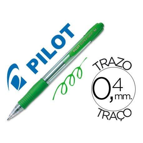 Boligrafo Pilot Super Grip verde 0,4 mm