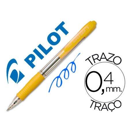 Boligrafo Pilot Super Grip Amarillo tinta azul 0,4 mm