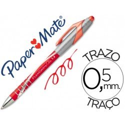 Boligrafo marca Papermate Flexgrip elite 0,5 mm rojo