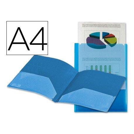 Carpeta dossier con doble bolsa Liderpapel Din A4 azul