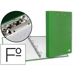 Carpeta carton forrado 4 anillas gomas Liderpapel Paper Coat lomo 40 mm folio verde