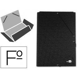 Carpetas de gomas carton forrado Paper Coat Liderpapel Folio negro