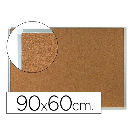 Tablero de corcho mural con marco de aluminio Q-Connect 90x60 cm