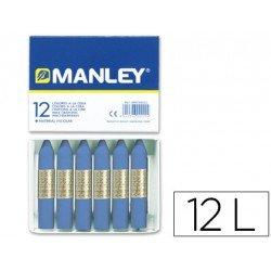 Lapices cera blanda Manley caja 12 unidades color azul ultramar