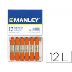 Lapices cera blanda Manley caja 12 unidades color naranja