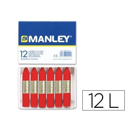 Lapices cera blanda Manley caja 12 unidades color rojo escarlata