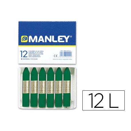 Lapices cera blanda Manley caja 12 unidades color verde esmeralda