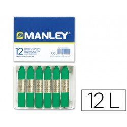 Lapices cera blanda Manley caja 12 unidades color verde natural