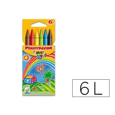 Lapices cera Plastidecor 6 unidades colores surtidos