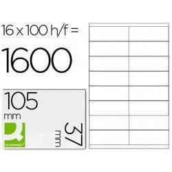 16 Etiquetas Adhesivas Q-Connect kf10654 tamaño 105x37 mm fotocopiadora laser ink-jet caja con 100 hojas din a4.