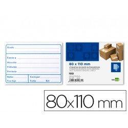 Etiquetas autoadhesivas de envio Liderpapel 80x110mm