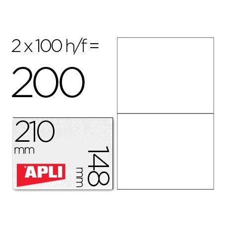 2 Etiquetas Apli Adhesivas 210x148 mm . Caja de 100 hojas