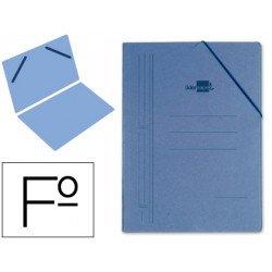 Carpeta Liderpapel gomas carton azul sencilla folio