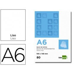 Bloc notas perforado Liderpapel din A6 apaisado 80 hojas 60g/m2