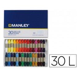 Lapices cera blanda Manley caja 30 unidades