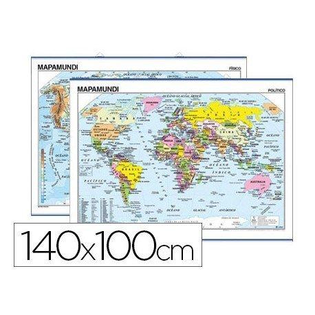 Mapa mural planisferio fisico-politico