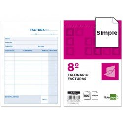 Talonario Liderpapel T-101facturas 105x155 mm
