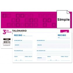 Talonario Liderpapel T-105 recibos 102x205 mm