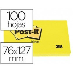 Post it, 76x127 mm. Bloc de notas adhesivas quita y pon