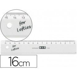 Regla M+R zurdos 16 cm plastico transparente.Numerada al reves ya que es para zurdos.