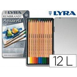 Lapices de colores Lyra acuarelables hexagonales mina gruesa 4 mm caja de 12 unidades