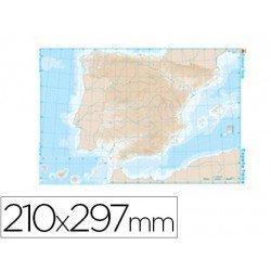 Mapa mudo España fisico blanco y negro