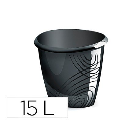 Papelera plastico Cep negro 15 litros
