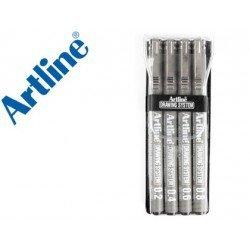 Rotulador Artline calibrado micrometrico negro estuche de 4 unidades
