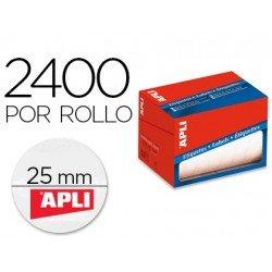 Apli Etiqueta adhesiva 1674 25 mm redondas rollo de 2400 unidades blancas