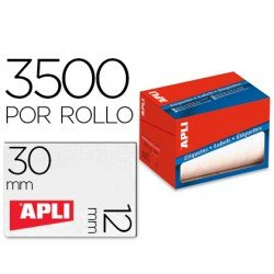 Etiqueta adhesiva Apli 1680 12x30 mm redondas rollo de 3500 unidades blancas