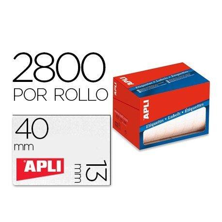 Etiquetas Apli adhesivas 1681 13x40 mm redondas rollo de 2800 unidades blancas