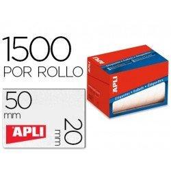 Etiqueta adhesiva Apli 1686 20x50 mm redondas rollo de 1500 unidades blancas