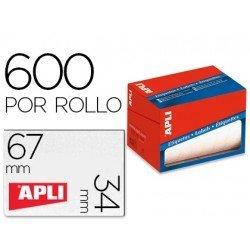 Etiqueta adhesiva Apli 1685 34x67 mm redondas rollo de 600 unidades blancas