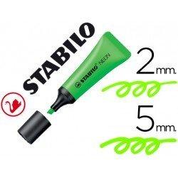 Rotulador Stabilo fluorescente verde neon