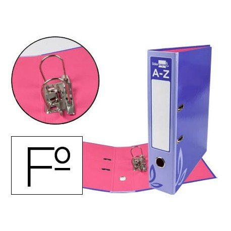 Archivador de palanca Liderpapel folio forrado rado lomo 52mm compresor metalico violeta